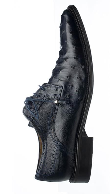 Ferrini Men's Genuine Ostrich Quill Leather Tasseled Lace Up Shoes Navy Mens Ostrich Skin Shoes