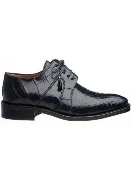 Ferrini Navy Genuine Full World Best Alligator ~ Gator Skin Men's Lace Up Shoes