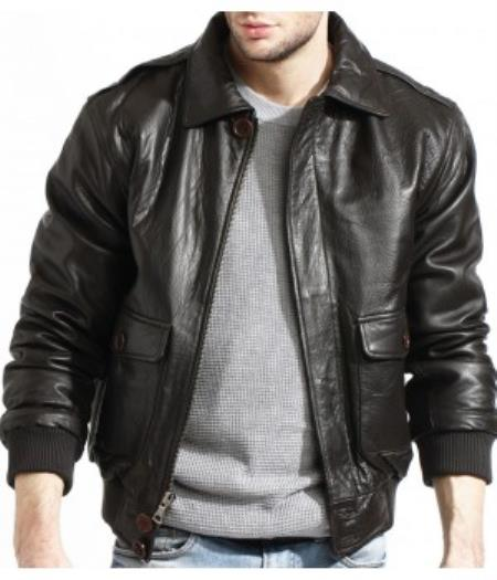Mens Military Genuine Lamb Black Leather Flight Pilot Bomber Jacket