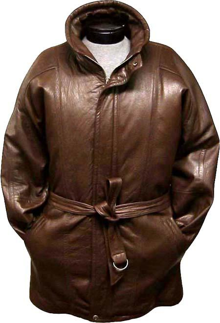 SKU#ASZ79 Mens Classic 3/4-Length Coat with Belt Zip-To-Top China Collar Brown Leather long trench coat ~ Raincoat ~ Duster