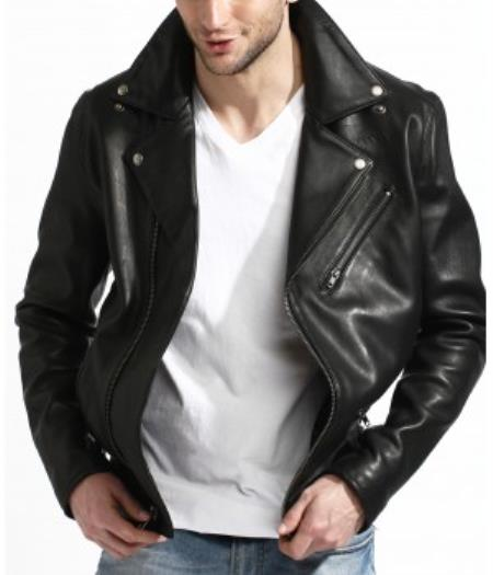 Genuine Lambskin Leather Biker Jacket Black