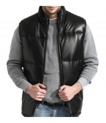 A Classic Padded Bubble Vest In An A-GRADE, SOFT Lambskin Big and Tall Bomber Jacket Black