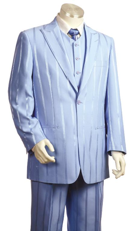 SKU#KF9400 Mens Fashionable 3 Piece Vested Lavander Zoot Suit