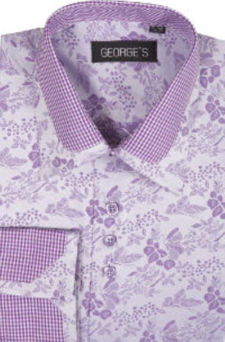 George 60% Cotton 40% Polyster Spread Collar Lavender Mens Dress Shirt
