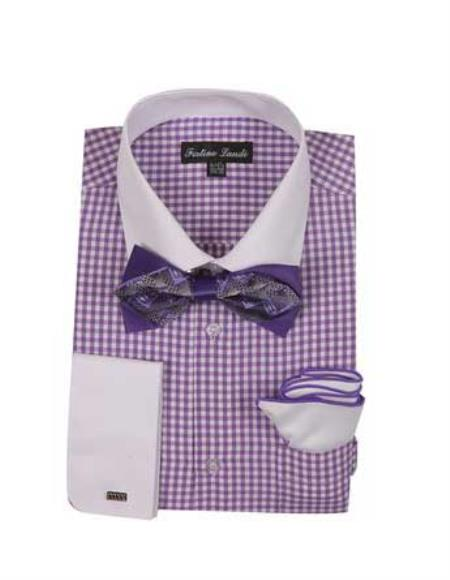 Mens Lavender Checks Shirt French Cuff With White Collared Contrast  High Fashion Bowtie And Handkerchief White Collar Two Toned Contrast