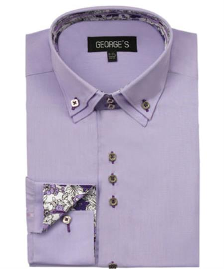 Men's Lavender  60% Cotton 40% POLY Shirt Solid Color Double Collar Design Sleeves