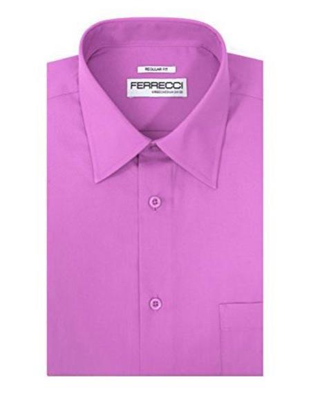 Mens Classic Regular Fit Barrel Cuffs Lavender Shirt