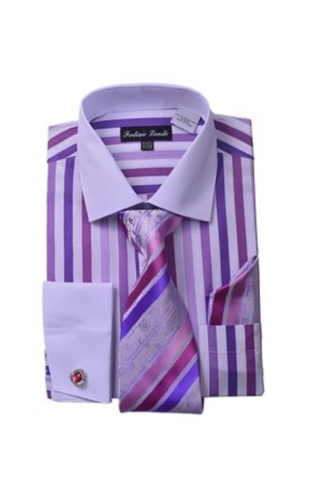 Men's Fashion White Collar Two Toned Contrast Unique Stripe Shirt Tie White Collared Contrast  And Hanky Matching Color Lavender