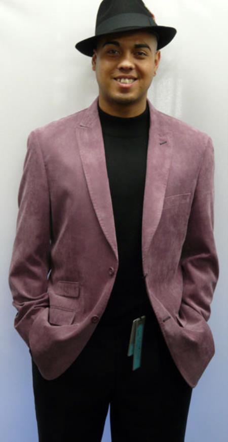 Lanzini Peak Collared Hand Stitch Corded Micro Suede sport coat Jacket Lavender ~ Mauve Color