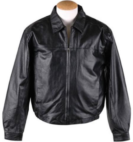 Mens Zip-Out Liner Leather JD Black Big and Tall Bomber Jacket