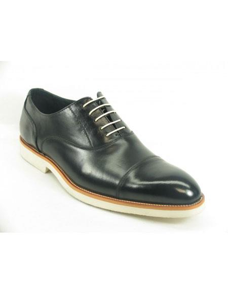 Men's Black Fashionable Carrucci Genuine Leather Oxford Black Dress Shoe With White Sole