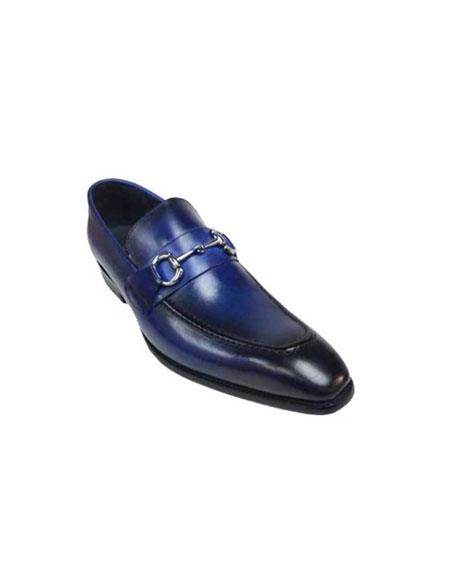 Men's Slip On Leather Royal Blue Fashionable Carrucci Shoe With Top Silver Buckle