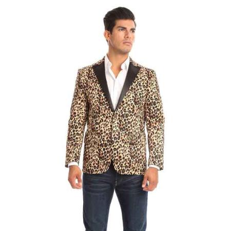 Peak Lapel Leopard-Print Slim