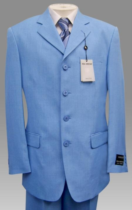 SKU# T797 Beautiful Mens Light Blue ~ Sky Baby Blue Pastel Color 3 Button Style Jacket Plus Pants Dress With Nice Cut Smooth Soft Fabric