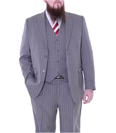 Stacy Adams Mens Light Gray Pinstriped Three Piece Suit