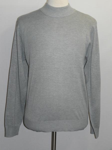 Buy SS-101 Mens INSERCH Light Gray Melange Mock Neck Pullover Knit Sweater High Collar