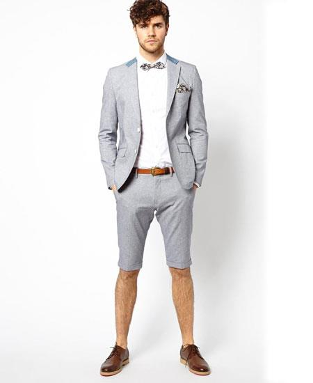 Men's Summer Business Light Gray Suits With Shorts Pants Set (Sport Coat Looking)