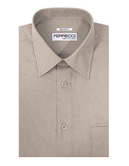 Ferrecci Light Grey Cotton Blend Barrel Cuffs Classic Regular Fit Men's Dress Shirt