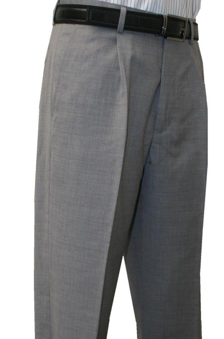 Roma-Veronesi 1 Pleated Pant 100% Wool 1/4 Top Pocket+2 Back Pockets w/Lining Light Grey unhemmed unfinished bottom