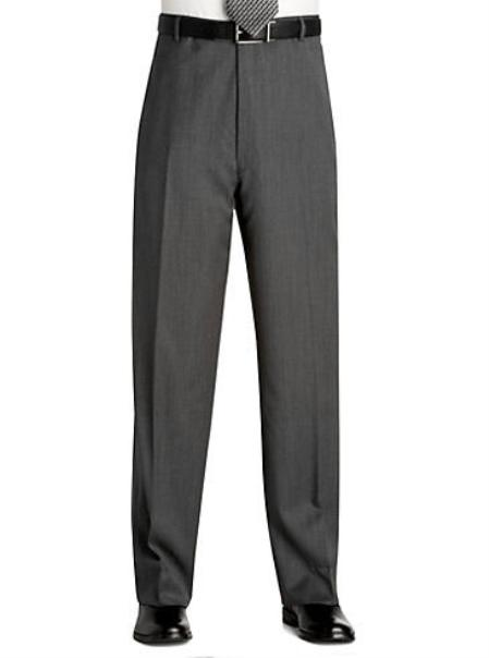 Flat Front Regular Rise Slacks Light Gray