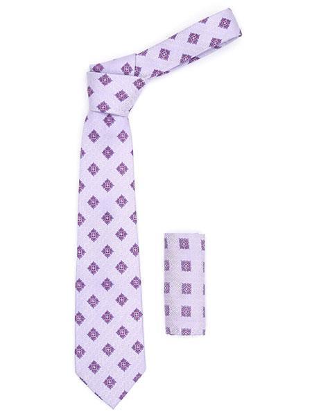 Men's Geometric Trendy Light Purple Necktie With Hanky Set