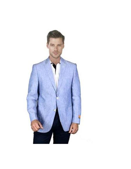 Men's Light Sky Baby Blue Linen Blazer Sport Coat Jacket