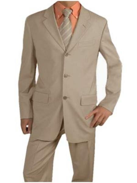 SKU# ERI_3P  Mens Light Tan Suit Poly Blend Summer Suits $99