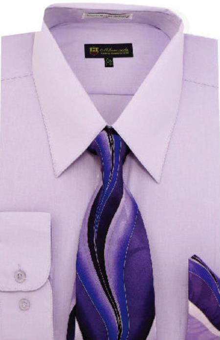 Lilac Solid Pattern Men's Dress Shirt