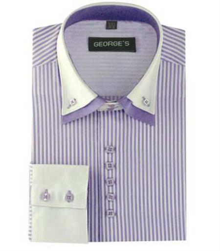 Buy SM485 Men's Long Sleeve Lilac Dress Shirt White Collar Two Toned Contrast Two Tone Striped Standard Cuff White Collared Contrast