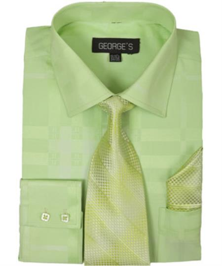 Mens Lime Dress Shirt 60% Cotton 40% Polyester Shadow Striped Tie with Hanky
