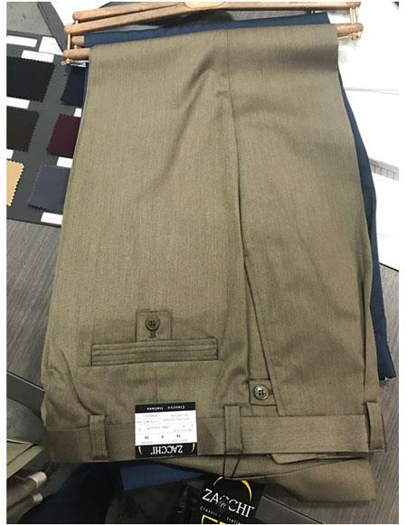 Zacchi Mens Mocca ~ Taupe ~ Slate Color Dress  Mens Wide Leg Trousers