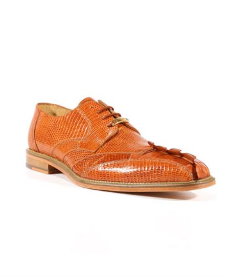 Buy SS-673 Mens Topo Lizard Caiman Alligator Cognac Oxford Belvedere Shoes