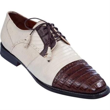 Lizard & Gator Tip Dress Shoe Bone With Brown