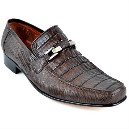 Gator and Lizard Stylish Dress Loafer slip on Mens shoe Shoe Brown
