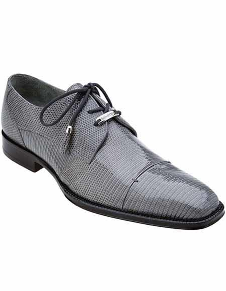 Belvedere Mens Classic Gray Teju Exotic Lizard Skin Leather Shoes