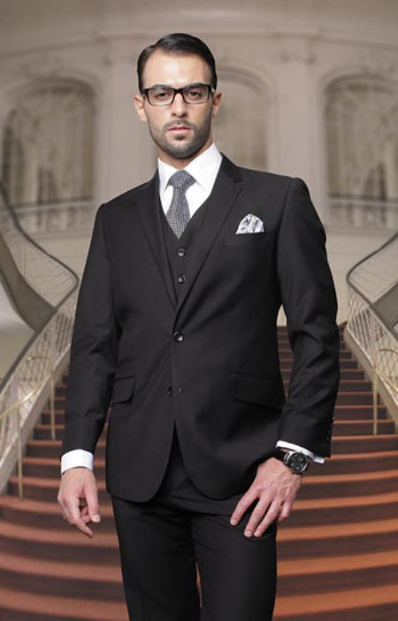 Mens Big And Tall Or Extra Long Tall Vested Three piece 100% Wool Italian Dress Suit Black PNG62