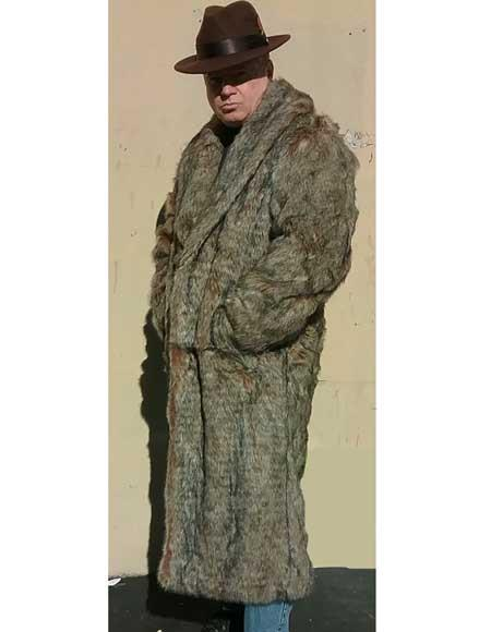 1920s Mens Coats & Jackets History Mens Long Length Faux Fur Coat Topcoat Overcoat CoffeeBrown $200.00 AT vintagedancer.com