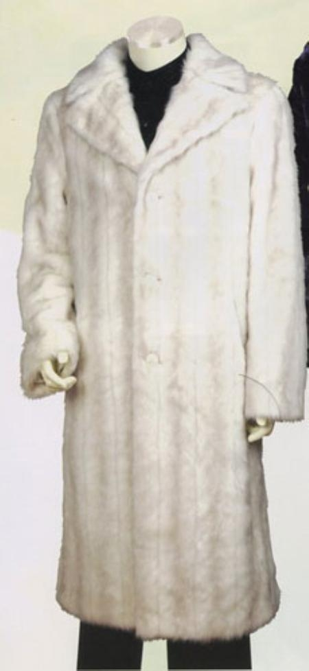 SKU#TTX778 Mens Long Length Faux Fur Coat Off White