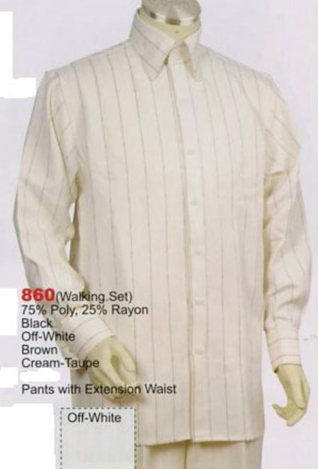 SKU#BZ513 Mens Long Sleeve 2pc Set including Matching Wide Leg Dress Pants Cream/Taupe