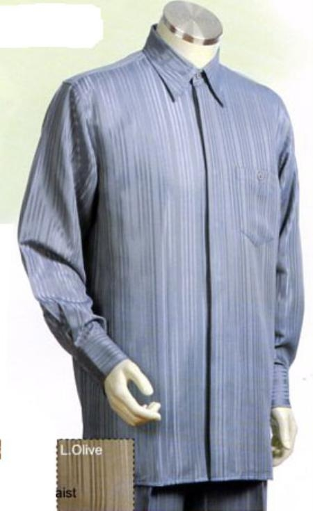 SKU#GA491 Mens Long Sleeve 2pc Set with French Cuff Shirt including Wide Leg Dress Pants Gray