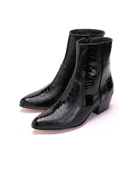 Men's Los Altos Boots Genuine Ostrich Higher Heel Paw Black Dress Boot Ankle Dress Style For Man