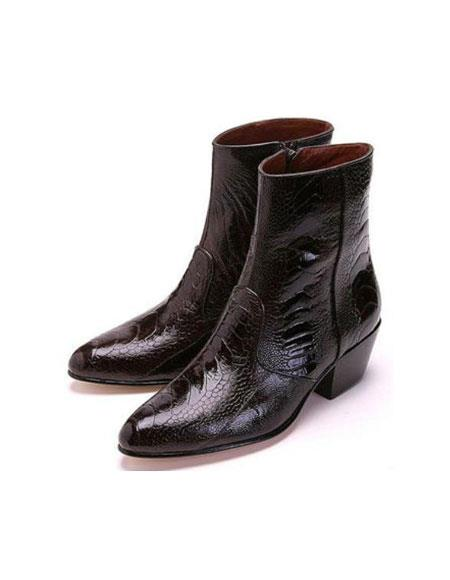 Men's Los Altos Boots Genuine Ostrich Higher Heel And Inside Zipper Paw Dress Boot Brown Ankle Dress Style