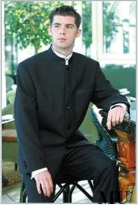 SKU#SP5 Mens Mandarin BANDED COLLAR Solid Black 5 Button Dress Formal SUIT $595