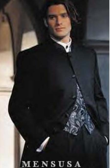 Black pleated Mandarin Banded collarless 5-button trimmed satin Suit