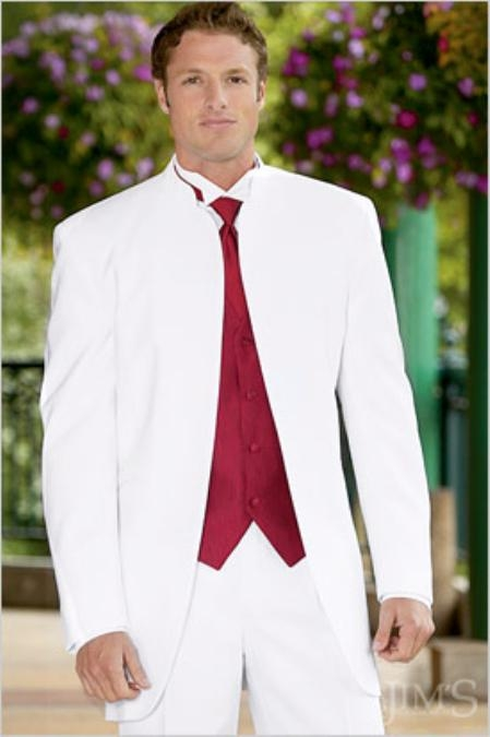 No Button Banded Collar Mandarin Tuxedo Jacket Suit + matching White Pants