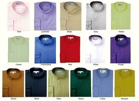Buy PN84 Mens' Mandarin Collarless Banded Collar Dress Shirt Style Multi-Color