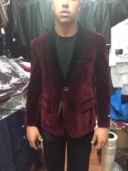 Black and Burgundy ~ Wine ~ Maroon Velvet Velour dinner Jacket Shawl Collar Tuxedo Blazer Sportcoat