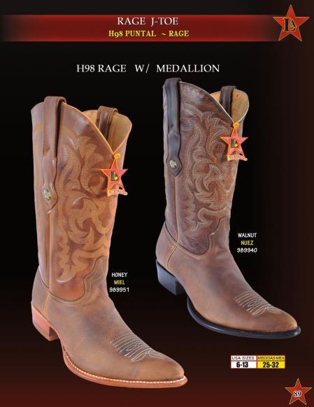 Los Altos Mens H98 Rage Leather w/ Medallion Cowboy Western Boot ~ botines para hombre Diff. Colors