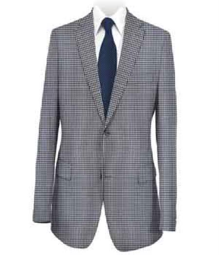 Men's Sport Coat Medium Blue Checked Notch Lapel Blazer