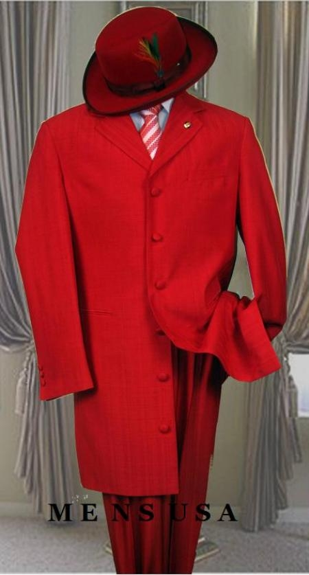 SKU# LT32 Mens Metalic Hot Red Fashion Dress Zoot Suit 38 Inch Long
